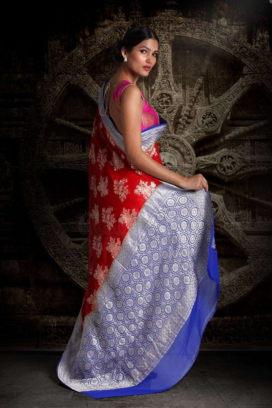 Red Pure Chiffon Saree With Blue Pallu & Floral Designs VARANASI CHRONICLES Roopkatha - A Story of Art