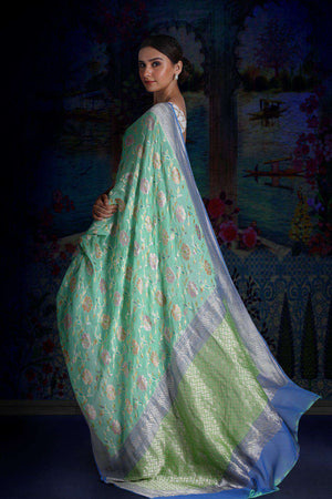 Light Blue Pure Chiffon Saree With Green Pallu & Floral Designs VARANASI CHRONICLES Roopkatha - A Story of Art