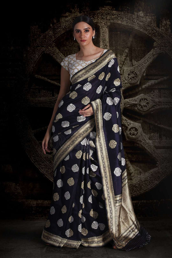 Ink Blue Pure Handwoven Katan Silk Saree With Damask Designs VARANASI CHRONICLES Roopkatha - A Story of Art