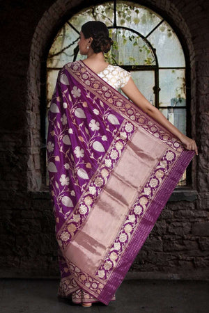 Purple Handwoven Katan Silk Saree With Floral Zari Designs VARANASI CHRONICLES Roopkatha - A Story of Art