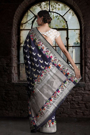 Ink Blue Pure Handwoven Katan Silk Saree With Peacock Designs VARANASI CHRONICLES Roopkatha - A Story of Art