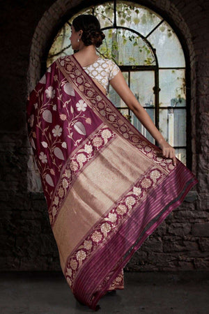 Burgundy Pure Handwoven Katan Silk Saree With Floral Designs VARANASI CHRONICLES Roopkatha - A Story of Art