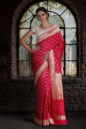 Hot Pink Pure Handwoven Katan Silk Saree With Paisley Designs VARANASI CHRONICLES Roopkatha - A Story of Art