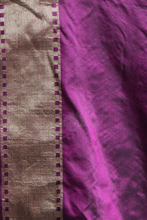 Purple Pure Handwoven Katan Silk Saree With Floral Designs VARANASI CHRONICLES Roopkatha - A Story of Art