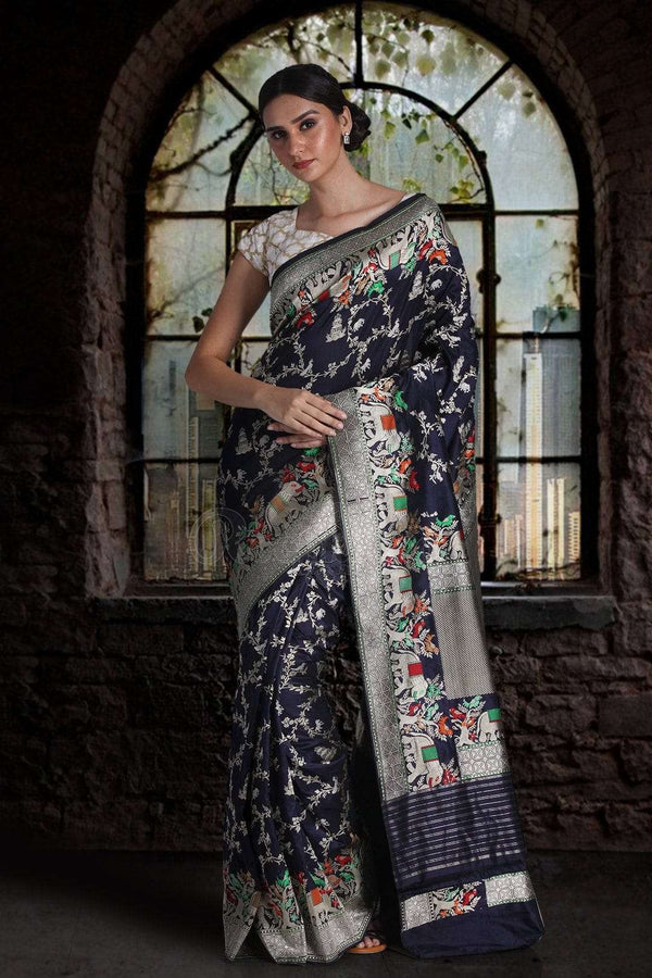 Navy Blue Pure Handwoven Katan Silk Saree With Jungle Designs VARANASI CHRONICLES Roopkatha - A Story of Art