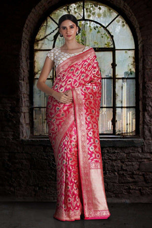 Hot Pink Pure Handwoven Katan Silk Saree With Floral Designs VARANASI CHRONICLES Roopkatha - A Story of Art