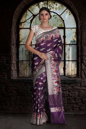 Purple Pure Handwoven Katan Silk Saree With Jungle Designs VARANASI CHRONICLES Roopkatha - A Story of Art