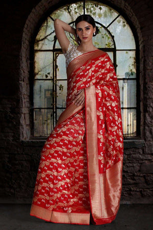 Red Pure Handwoven Katan Silk Saree With Jungle Designs VARANASI CHRONICLES Roopkatha - A Story of Art