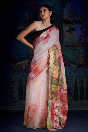 Blush Pink Digital Printed Linen Saree With Zari Border & Pallu Earthen Collection Roopkatha - A Story of Art