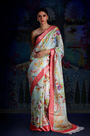 Ice Blue Digital Printed Linen Saree With Zari Border & Pallu Earthen Collection Roopkatha - A Story of Art