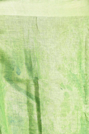Light Green Digital Printed Linen Saree With Zari Border & Pallu Earthen Collection Roopkatha - A Story of Art
