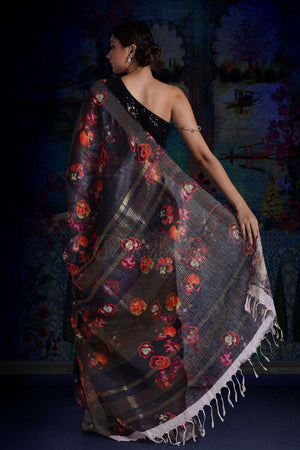 Charcoal Digital Printed Linen Saree With Zari Border & Pallu Earthen Collection Roopkatha - A Story of Art