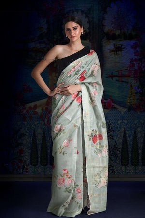 Greenish-Grey Digital Printed Linen Saree With Zari Border & Pallu Earthen Collection Roopkatha - A Story of Art