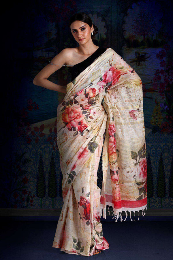 Powder Yellow Digital Printed Linen Saree With Zari Border & Pallu Earthen Collection Roopkatha - A Story of Art