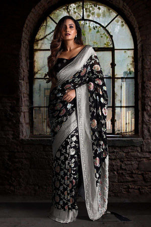 Black Pure Chiffon Saree With Floral Designs VARANASI CHRONICLES Roopkatha - A Story of Art
