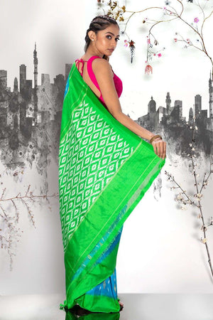 Blue Ikkat Silk Saree With Green Pallu