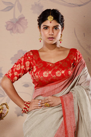 Red & Golden Floral Chanderi Blouse