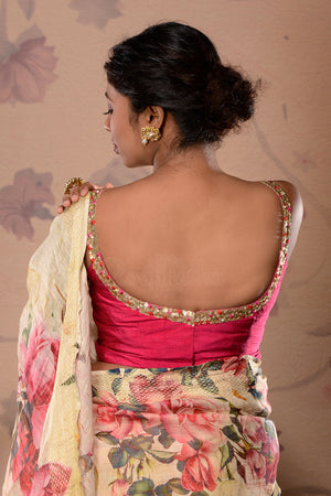 Pink Dupion Blouse With Sequins Neckline