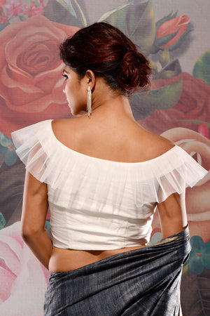 White Dupion Frilled Blouse