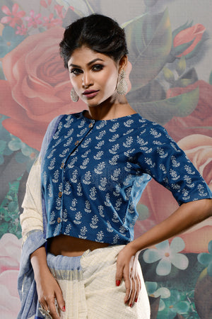 Deep Blue & White Printed Shirt Style Blouse