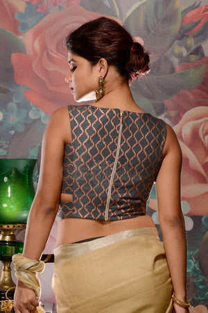Grey & Gold Printed Sleeveless Blouse
