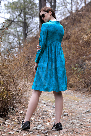 Teal Floral Yoke Dress With Gathered Flair