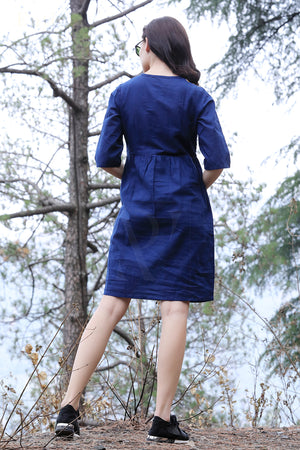 Navy Blue Kalamkari Yoke Dress
