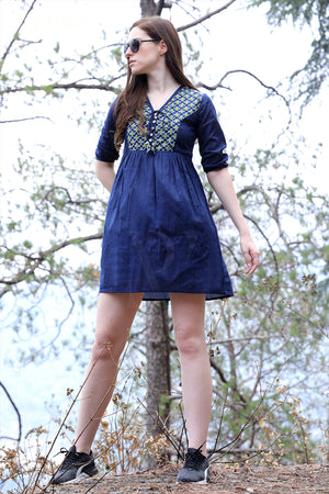 Navy Blue Ajrakh Yoke Dress