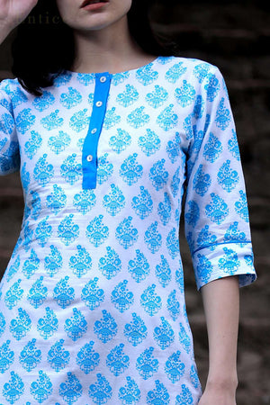 White & Blue Damask Printed Straight Kurta