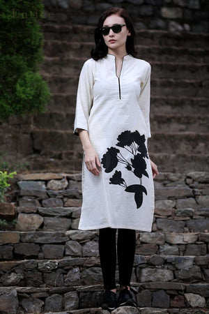 Black Blossom Cotton Kurta