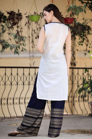 White & Navy Blue Kurta Palazzo Set With Golden Designs