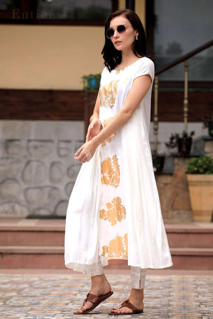 Knife Pleated White Golden Printed Kurta With Gold Printed Trousers