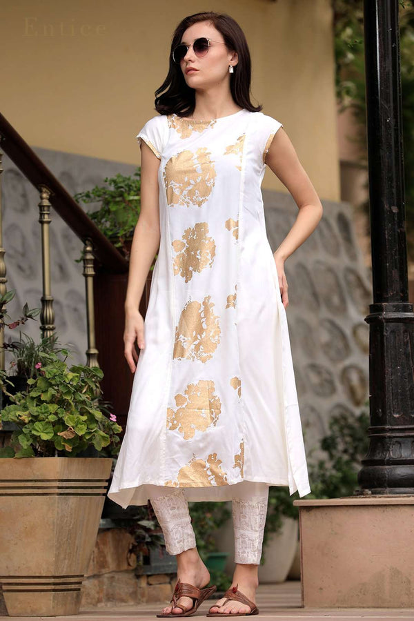 White Panelled A-Line Kurta With Gold Printed Trousers