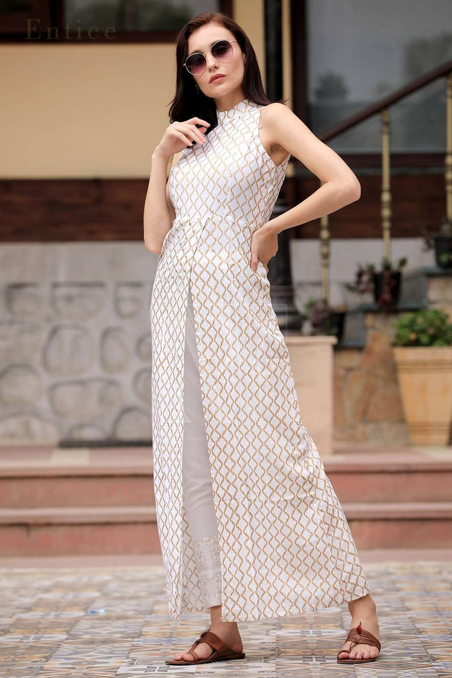 White Halter Neck Overlapping Front Open Kurta With Trousers