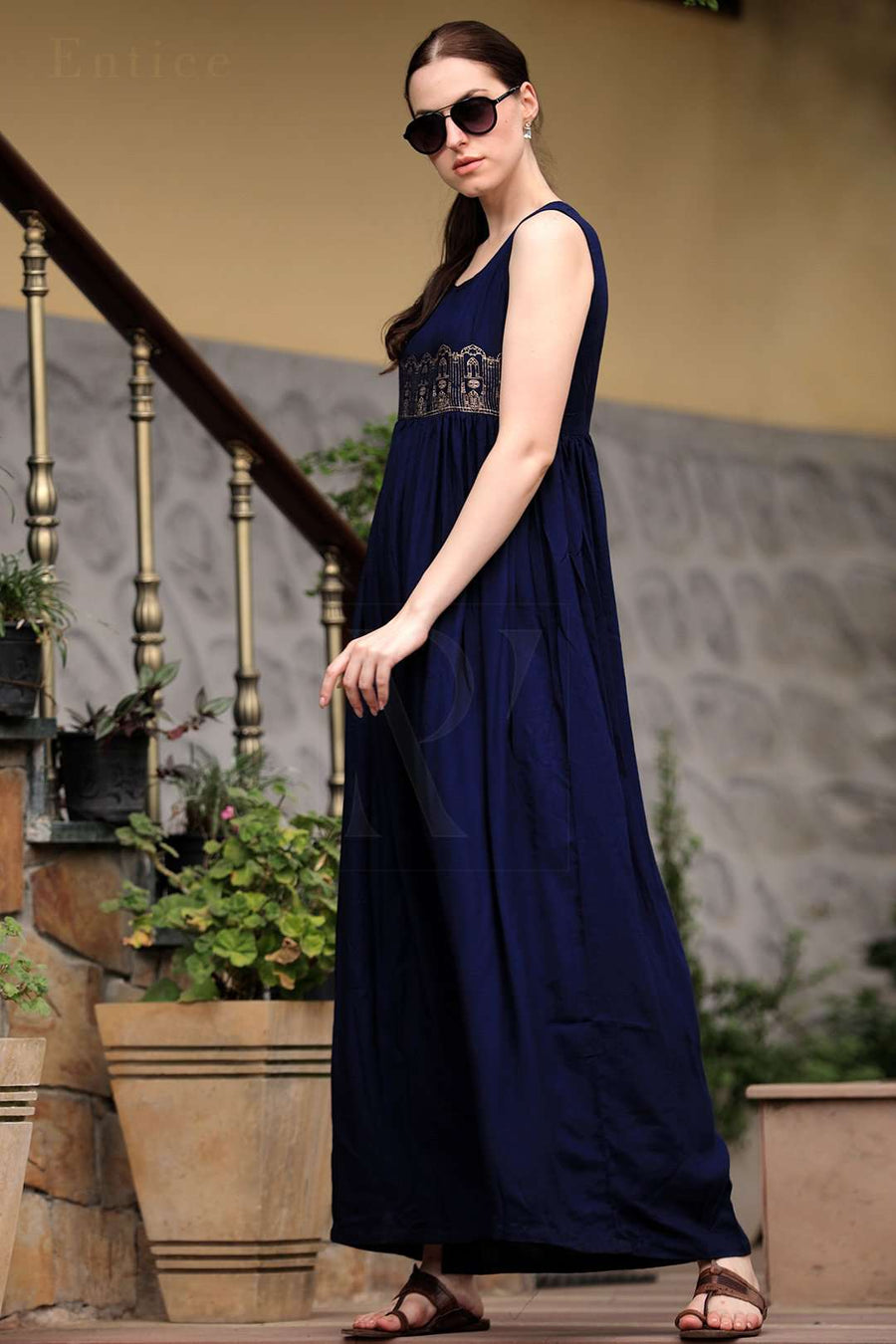 Navy Blue Empire Line Gathered Gown