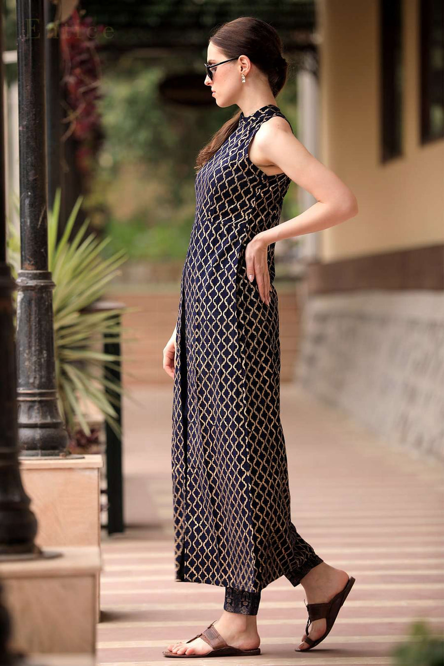 Navy Blue Halter Neck Overlapping Front Open Kurta With Trousers