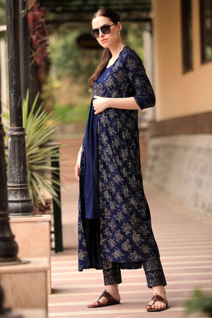 Navy Blue & Gold Tunic Trouser Set With Jacket