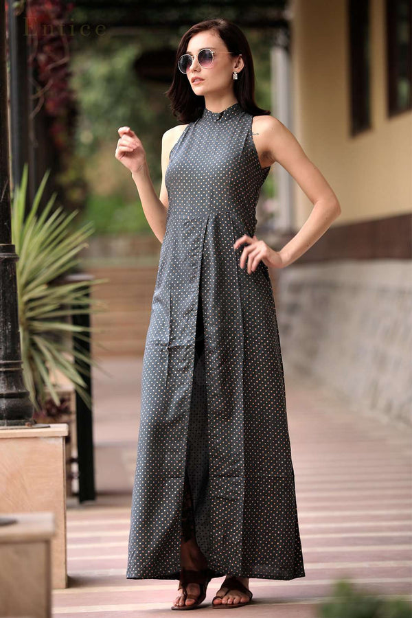 Grey Polka Dots Halter Neck Overlapping Front Open Kurta With Trousers