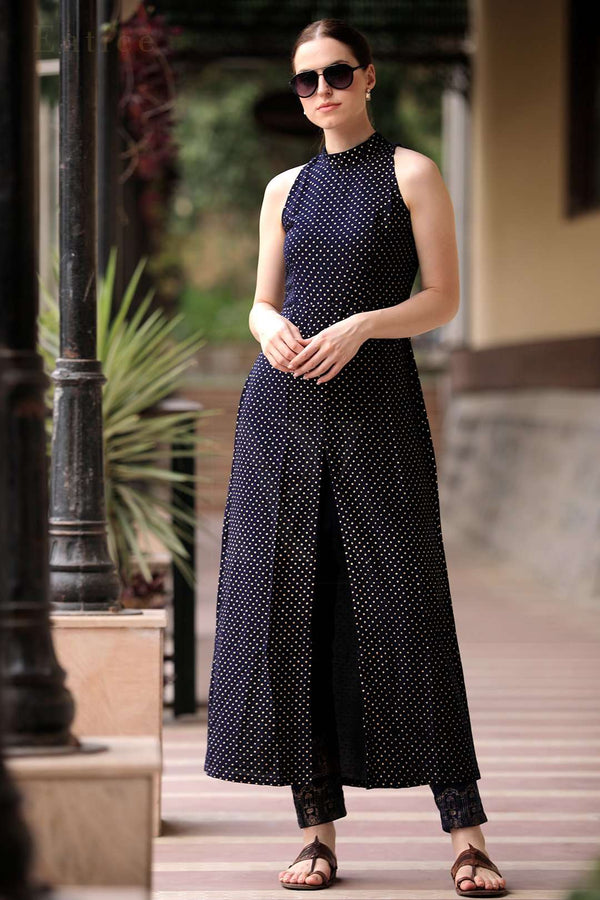 Blue Polka Dots Halter Neck Overlapping Front Open Kurta With Trousers