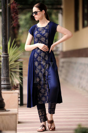 Navy Blue & Golden Panel Kurta With Straight Pants