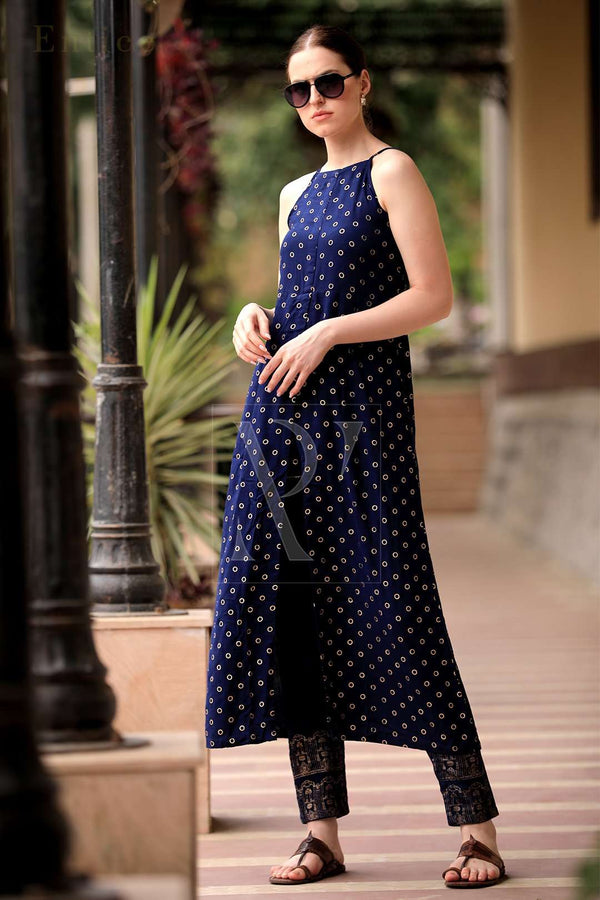 Navy Blue & Golden Strappy Golden Kurta With Straight Pants