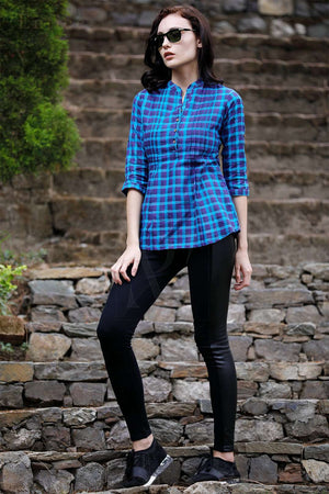 Blue Checkered Pleated Top