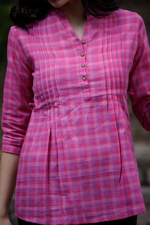 Pink Checkered Pleated Top