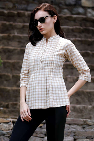 Beige Checkered Pleated Top