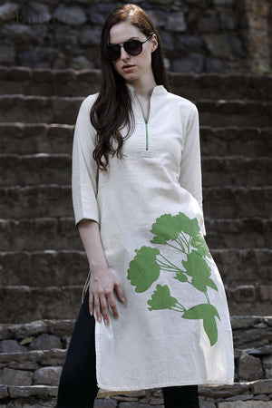Green Blossom Cotton Kurta