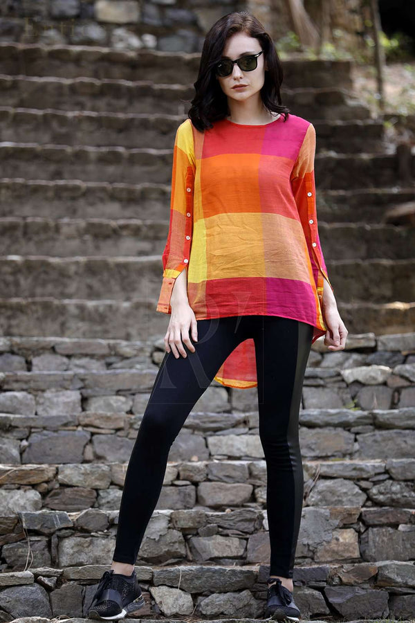 Checkered Handloom High Low Top