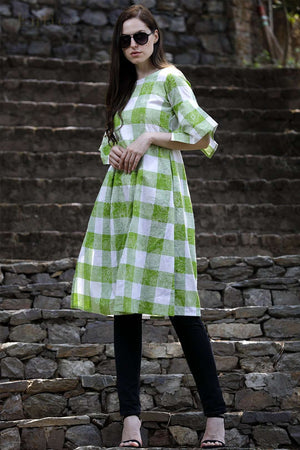 Green Floral Checkered Tunic With Kimono-Style Sleeves