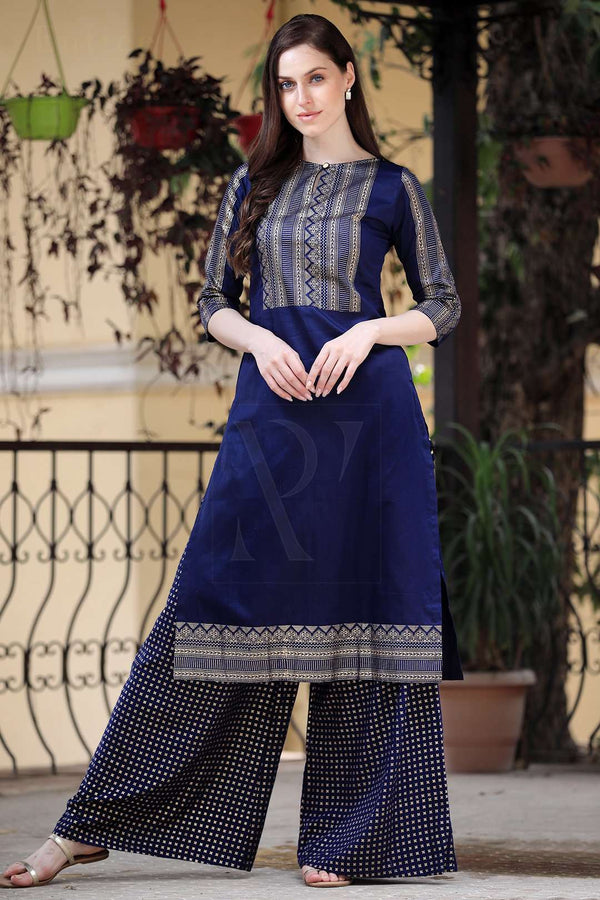 Navy Blue & Golden Printed Kurta Palazzo Set
