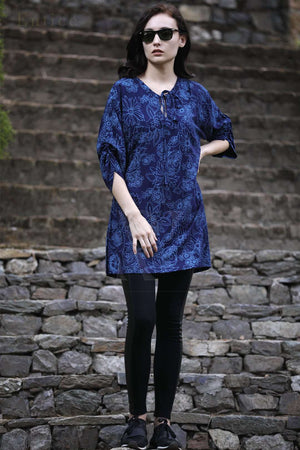 Navy Blue Floral Gathered Sleeve Top