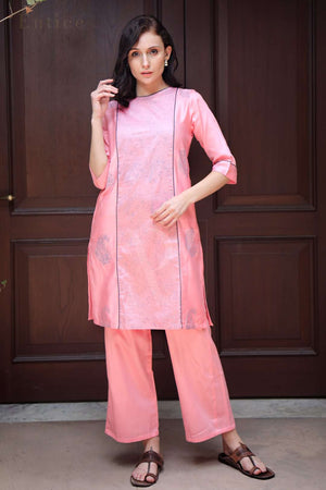 Pink & Grey Printed Kurta With Straight Pants
